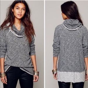 FP Beach Two Tone Grey Funnel Neck Sweater